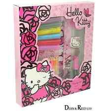 COLOURING SET - *NEW Felt Pens,Ruler,Sharpener HELLO KITTY PINK ROSES
