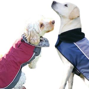 Dog Coat Jacket Winter Warm Waterproof Fleece Lined Night Bright LED Lead Hole