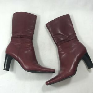 BP Sz 8.5 M Red Leather Mid Calf Boots High Heels Zip Up Ankle Booties