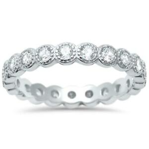 1.10 TCW CZ Antique Style Bezel Stackable Eternity Bridal Band .925 Ring Size 4