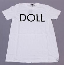 Boohoo Women's Betsy Doll Slogan Crew Neck Tee T-Shirt NB7 White Small NWT