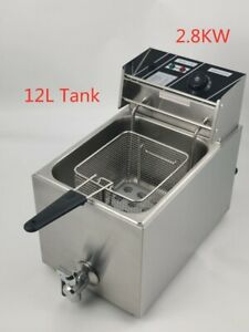 2.8KW 12L Commercial Electric Deep  Fryer Single Tank  With Lid & Drain Taps