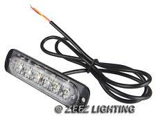 4X White&Amber 6 LED Emergency Hazard Warning Caution Beacon Strobe Light Bar#95