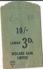 UNUSED MIDLAND BANK LIMITED 10/- 3d PAPER COIN BAG - GREEN