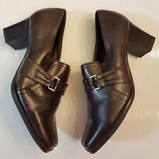 Life Stride Shoes size 6 1/2 M Syncable Stacked Look Heel Loafers Metal Buckle