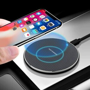 New Qi 10W Fast Wireless Charger LED Indicator Charging Pad For iPhone Samsung