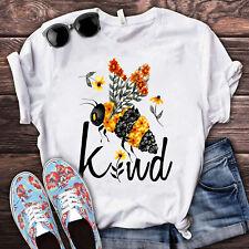 Hippie Bee Kind Women T Shirt White Cotton S-5XL