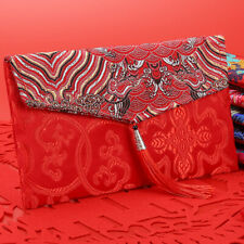 KQ_ BL_ Retro Chinese Style Cloth Fabric Red Envelopes Lucky New Year Money Bag