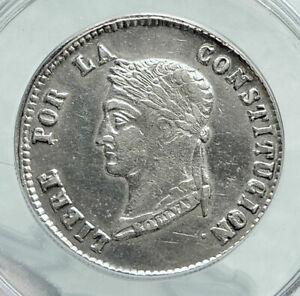1855 PTS MJ Bolivia LARGE SIMON BOLIVAR Genuine 4 Sol Silver Coin ANACS i78710