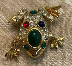 Vintage Marcel Boucher Numbered Gold Tone Frog Brooch Pin Cabochons Rhinestones