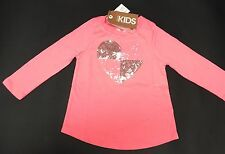 NEW Cotton On Kids Girl Pink Top Long Sleeve Sparkle Heart Size 2 Years RR$18.95