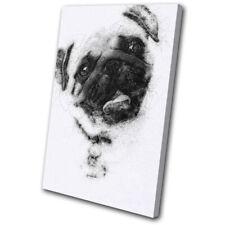Pug Dog Sketch Retro Modern Animals SINGLE TOILE murale ART Photo Print