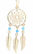 Gold tone dream catcher style web and leaf chandelier necklace