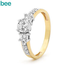 Simulated Diamond 9k 9ct Solid Yellow Gold Dress Engagement Ring Size P