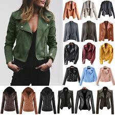 Women Faux Leather Biker Jacket Coat Casual Fitness Tops Outwear Zip Up Hoodies