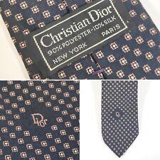 "Vtg Mens Christian Dior New York Paris 3""x55.5"" Navy, Gold, Silver Neck Tie Logo"