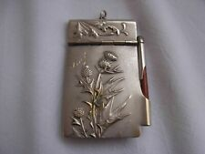 ANTIQUE FRENCH SILVERPLATE NOTE BOOK PENDANT,THISTLE PATTERN,ART NOUVEAU