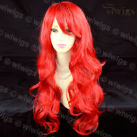 Wiwigs Beautiful Cosplay Fire Red Long Layered Wavy Skin Top Ladies Wig