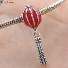 925 Sterling Silver Chinese Lantern Dangle Charm Red Enamel F European Bracelet