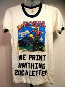 Vintage 1970 Advertising The Rats Hole Honda Motorcycle Sport Thin T Shirt Men S