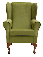 Wingback Fireside Chair in a Topaz Lime Fabric - Brand New