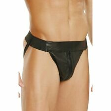 BLACK LEATHER JOCK STRAP ONE SIZE AND XL ELEGANT MOMENTS L9995