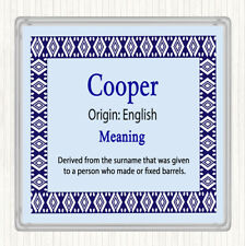 Cooper nom signifiant Boissons Mat Coaster Blue