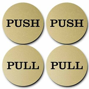 "2"" Round Push Pull Door Signs (Brushed Gold) - 2 sets (4pcs)"