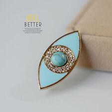 Brooch Golden Eye Enamel Turquoise Pearl Antique Style Class Retro XZ4