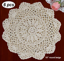 "6pcs 10"" Round Crochet Lace Doily Beige 100 Cotton Handmade Set of 6"