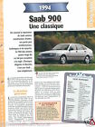 Saab 900 2.0 Berline 4 Cyl. Turbo 1994 Sweden Suede Car Auto FICHE FRANCE