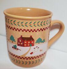 Hallmark 1985 Vintage Christmas Themed Happy Mug Cup Tree Snowman Sled Dog