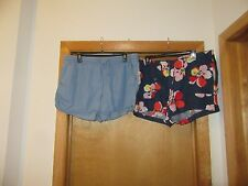 Gap Women's mini Shorts size 16 Blue Floral - linen Light Indigo - 100% lyocell