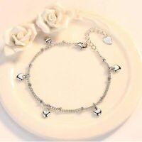 Damen Armband 925 Sterling Silber Armreif Herz Silber Kette Schmuck Geschenk Neu