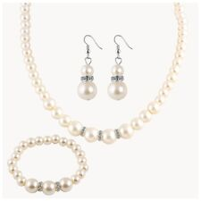 TS Crystal Faux White Pearl Teardrop Silver Earring Necklace Set $29