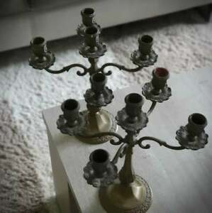 paire chandelier 5 branches laiton