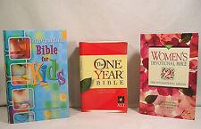 3 Bibles, Study Bible For Kids, NLT One Year Bible, NIV Women's Devotional Bible