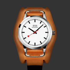 ESS Mens Watch Automatic Silver Case Brown Leather 3 Hands Analog Display Luxury