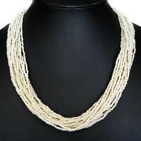 """25"""" HANDMADE 20 STRANDS CREAM WHITE GLASS SEED BEADS necklace"""