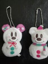 "Disney Mickey Minnie Mouse Plush Christmas Snowman Ornaments Set  2"""