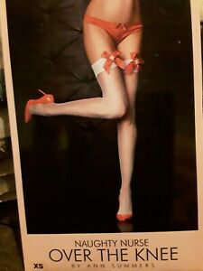 Ann Summers Naughty Nurse Over The Knee Size XS 4-6 New& Tags Stockings Hold Ups