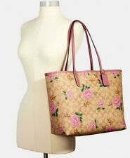 378$ COACH Reversible City Tote In Signature Canvas With Prairie Rose Print, NWT