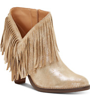 Jessica Simpson Jewles Women's Fringe Western Bootie Champagne Gold 8.5M