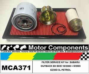 FILTER KIT Oil Air Fuel for SUBARU OUTBACK BH BHE EZ30D 3L PETROL 10/2000>8/2003