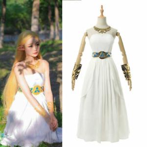 Legend of Zelda Breath of the Wild Princess Zelda Cosplay Costume Gown Dress @