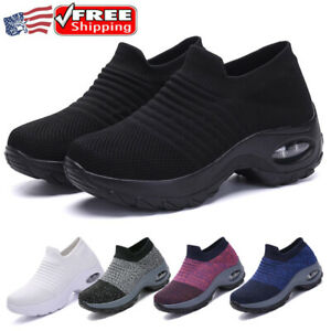 Womens Athletic Sock Shoes Sneakers Absorb Sole Walking Running Platform Sports