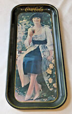 """Drink Coca-Cola Serving Tin Tray Gibson Girl Drink tray Coke 8.5"""" X 19"""" faded"""