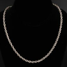 """Rope Chain Link 22.5"""" Necklace - 32g Vtg Sterling Silver - Mexico 4mm Twisted"""