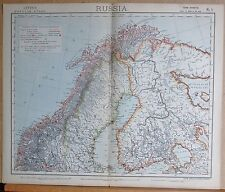 1883  ANTIQUE MAP RUSSIA NORTH WEST FINLAND NORTH SWEDEN