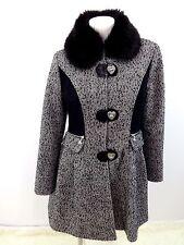 BETSEY JOHNSON WOMENS BLACK & WHITE WOOL TWEED COAT FUR TRIM SIZE 12